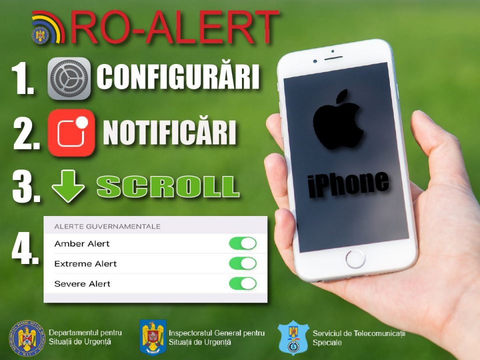 Ce mesaje vor primi posesorii de IPHONE prin sistemul RO-ALERT. Foto: IGSU