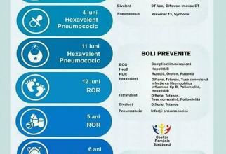 Calendarul de Vaccinare 2019, publicat de Medicina Familiei/Facebook. Sursa: Coalitia Romania Sanatoasa