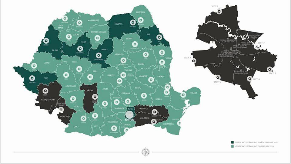 Hartea județelor unde se va face tromboliză în AVC. Foto: Ministerul Sănătății