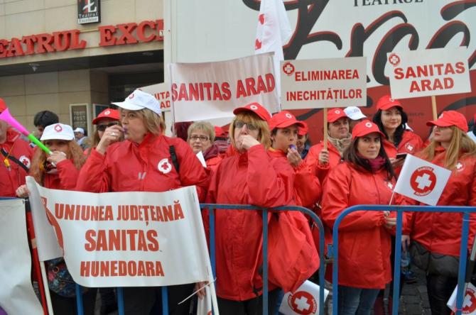 Peste 280 de sindicaliști au pichetat în martie Ministerul Sănătății. FOTO: Sanitas