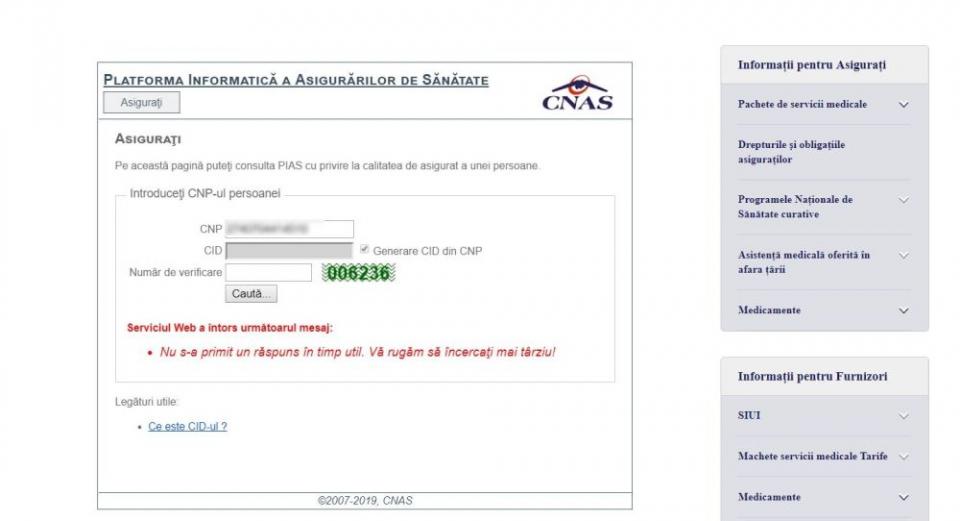 În continuare PIAS nu merge, verificarea calității de asigurat a unui pacient fiind imposibilă pe site-ul CNAS