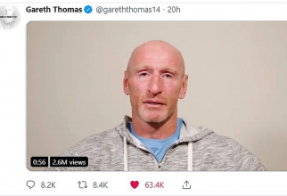 Fostul căpitan al echipei galeze de rugby, Gareth Thomas. Foto: printscreen/Twitter