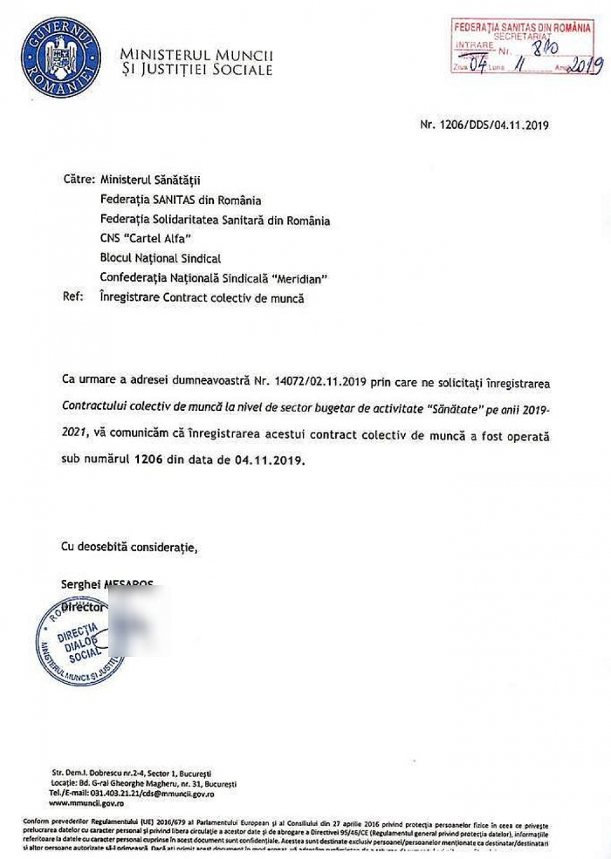 Contractul colectiv de muncă, înregistrat la Ministerul Muncii