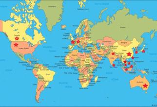 Harta cu cele 16 state afectate