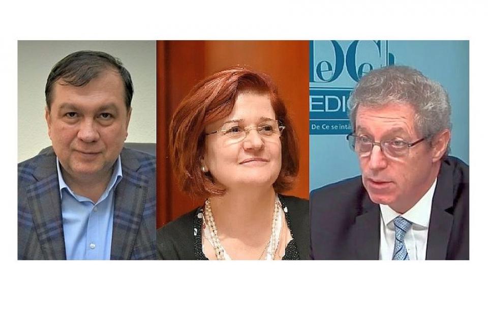 Viorel Jinga (stânga), Cătălina Poiana și Adrian Streinu-Cercel, cei trei candidați anunțați oficial pentru postul de RECTOR al UMF Carol Davila