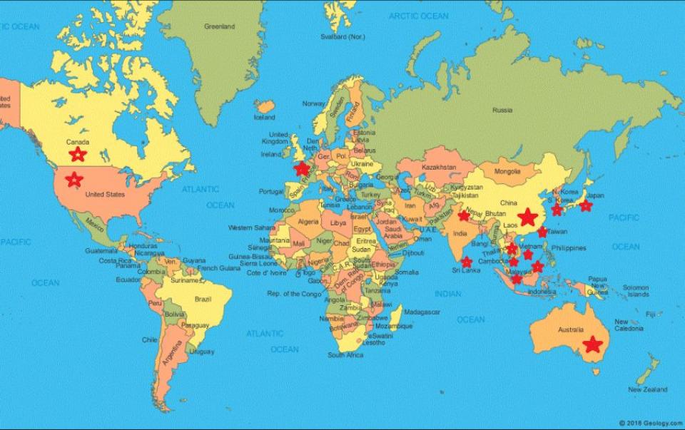 Harta statelor afectate de coronavirus. Foto-harta: geology.com