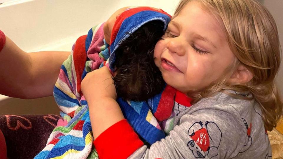 Truett și-a numit noul prieten Zeda Grace, iar cățelușul îl urmărește oriunde merge. FOTO: arhiva personală (abcnews)