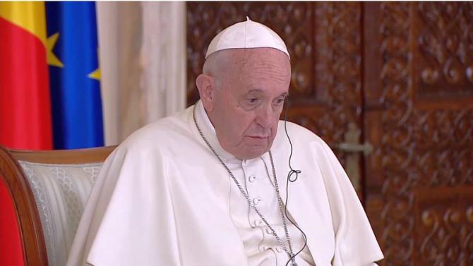 Papa Francisc în timpul vizitei făcute în iunie 2019 în România