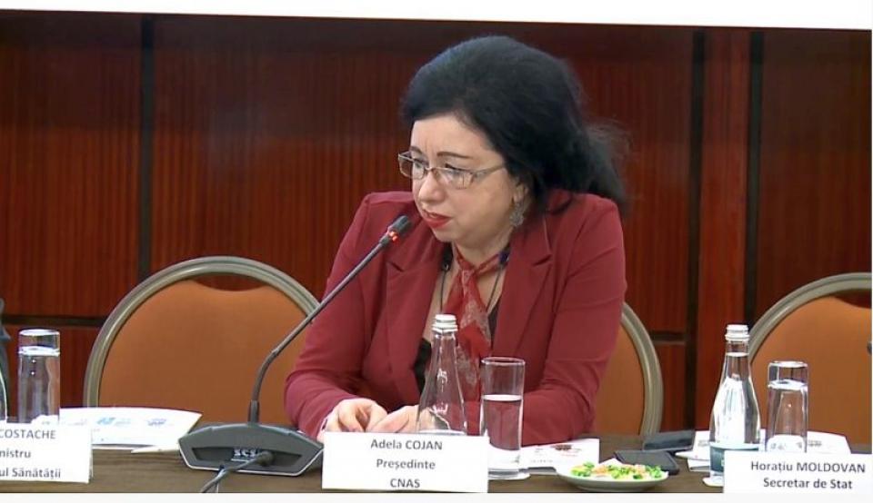Adela Cojan, președintele CNAS. Foto: DC MEDICAL
