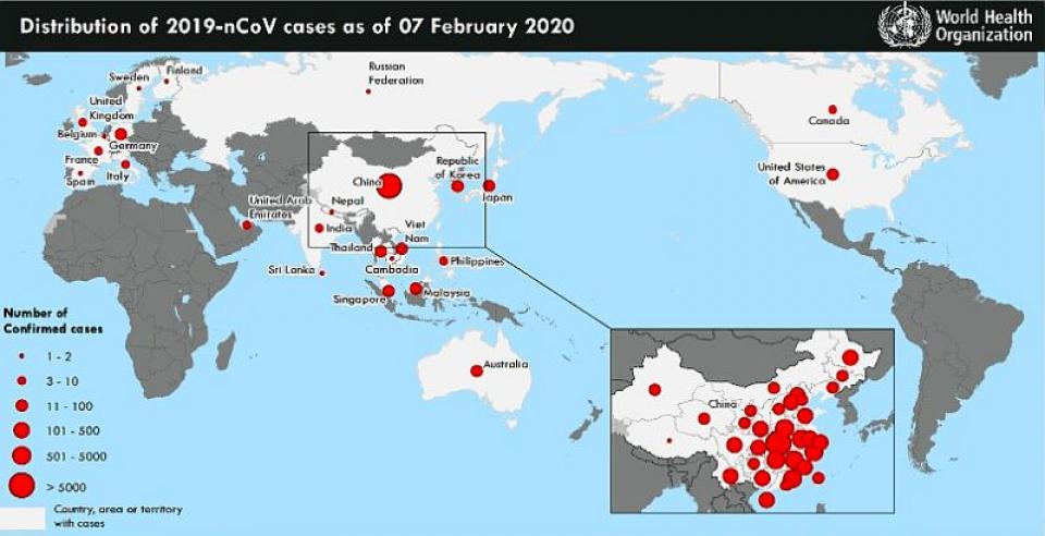 Harta răspândirii noului coronavirus la 7 februarie 2020. Sursa: OMS