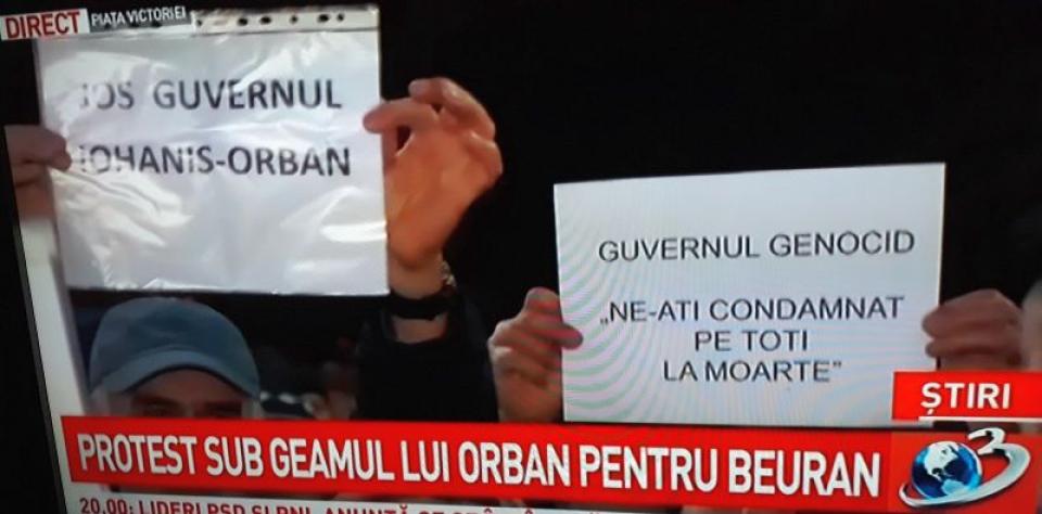Protest pentru Mircea Beuran în Piața Victoriei, în fața Guvernului