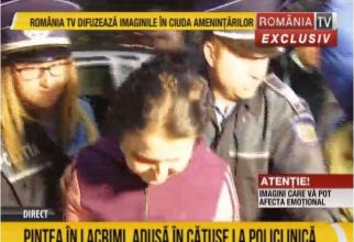 Sorina Pintea, dusă în cătușe la spital. Foto: Romania TV