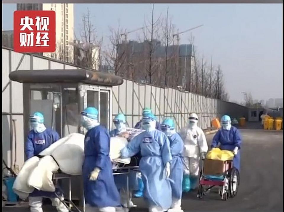 Pacientul de 100 de ani a fost ținut în carantină în Wuhan. Foto: Printescreen CCTV