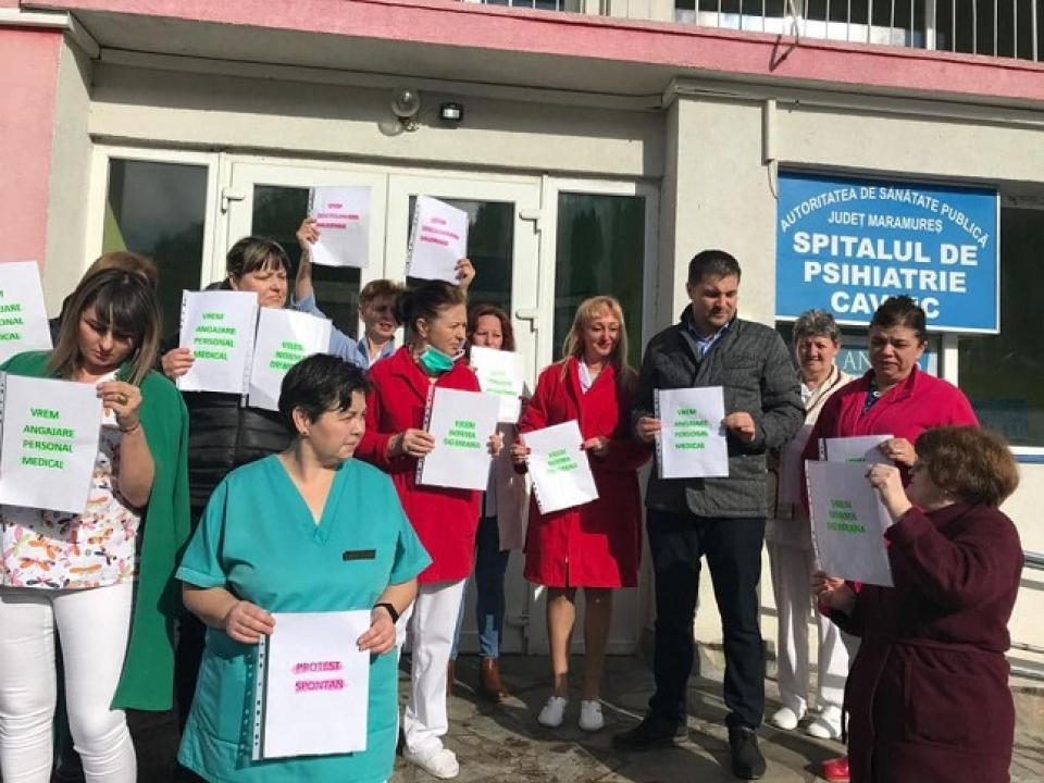 Protest la Spitalul de Psihiatrie din Cavnic, Maramureș