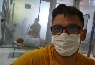 Razvan, din spital. Foto: Facebook