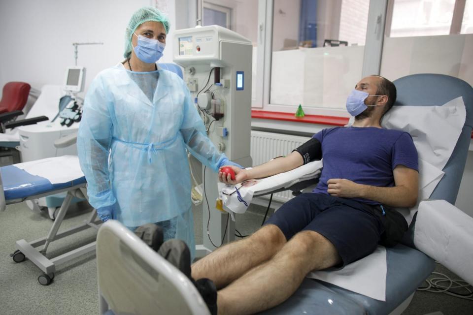 Donator de plasmă  FOTO: Facebook Centrul de Transfuzii București