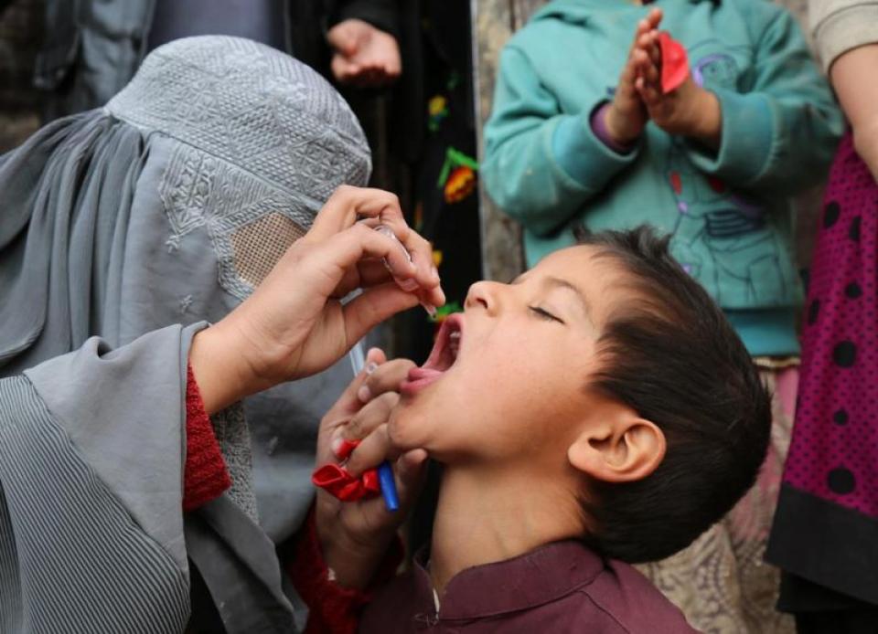 Vaccinarea poliomielită. Foto: Tuuli Hongisto /  OMS