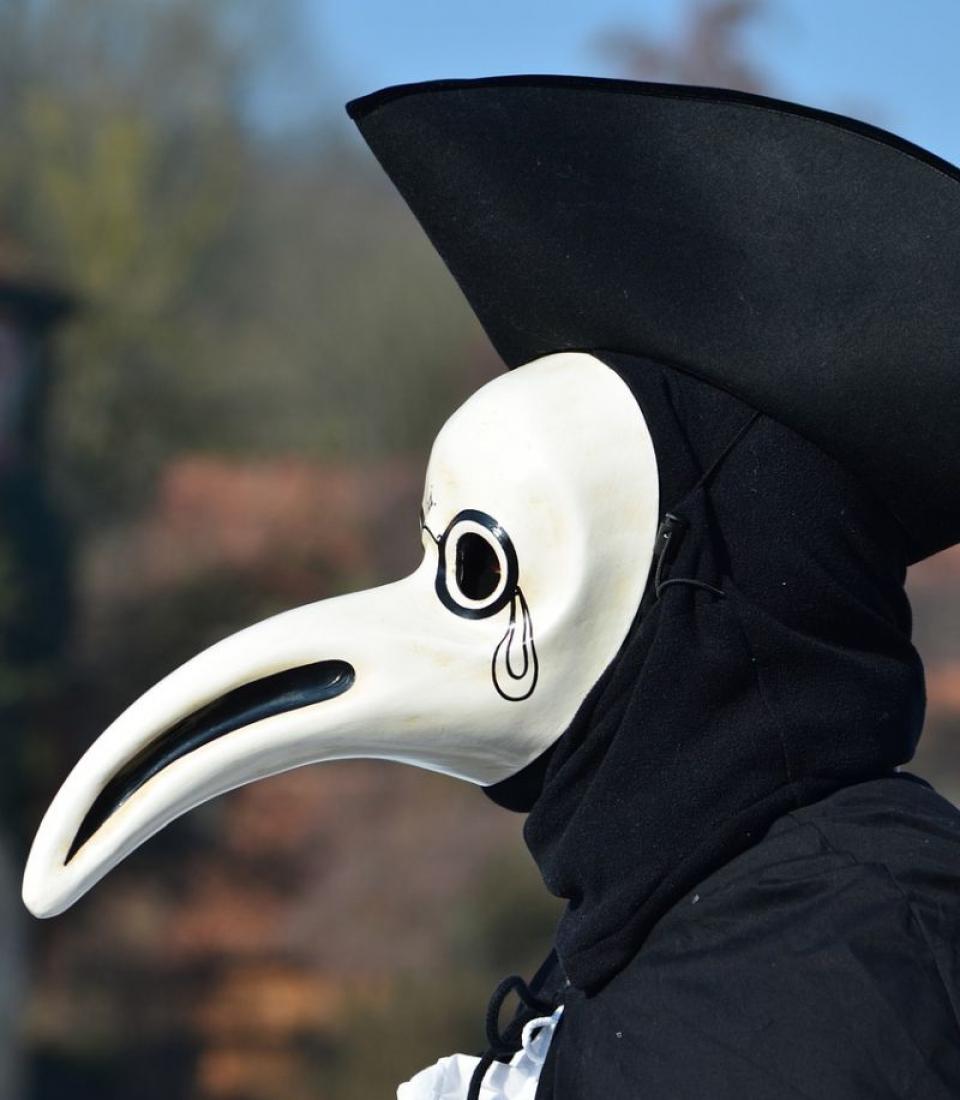 În Evul Mediu, medicii care tratau pacienții cu ciumă purtau haine negre și măști cu cioc ca de corb. Foto: Pixabay