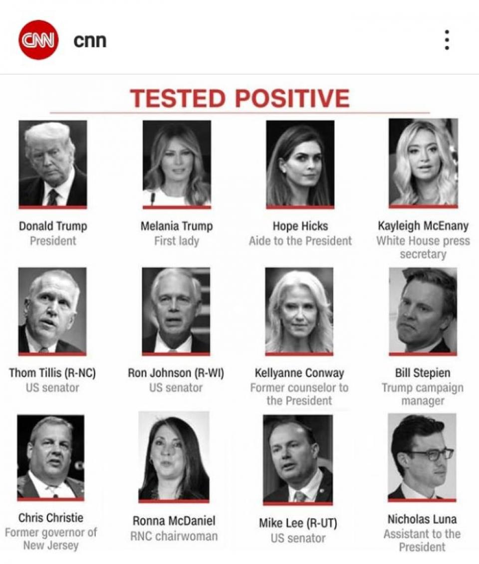 Donal Trump și oamenii lui infectați cu COVID-19. Foto: CNN
