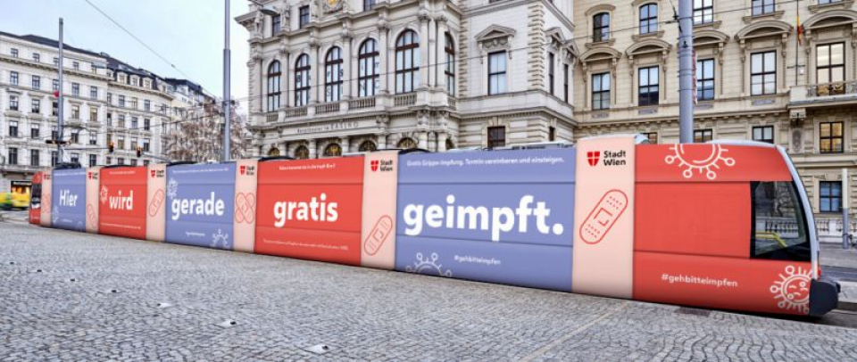 Tramvaiul - cabinet medical pentru vaccinare antigripală. Foto: Wiener Linien