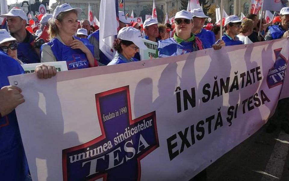 Sindicaliștii din Uniunea TESA. Foto: Facebook