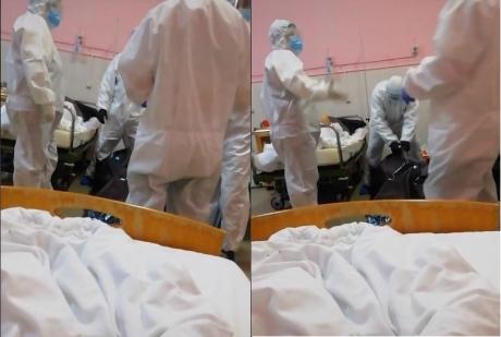 Pacienta decedată, pusă în sac direct din salon   Foto: Captură video Tik Tok
