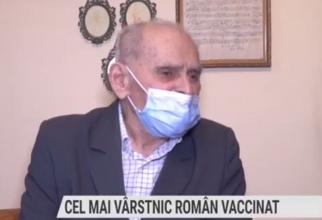 Profesorul de muzică Iosif Rus, cel mai bătrân român vaccinat. Foto: Print screen TVR Cluj
