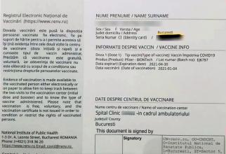 Adeverinta de vaccinare