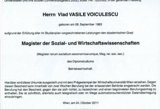 Diploma lui Vlad Voiculescu. Foto: Facebook