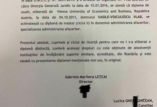 Certifcatul care-i atestă diploma lui Vlad Voiculescu. Foto: Facebook