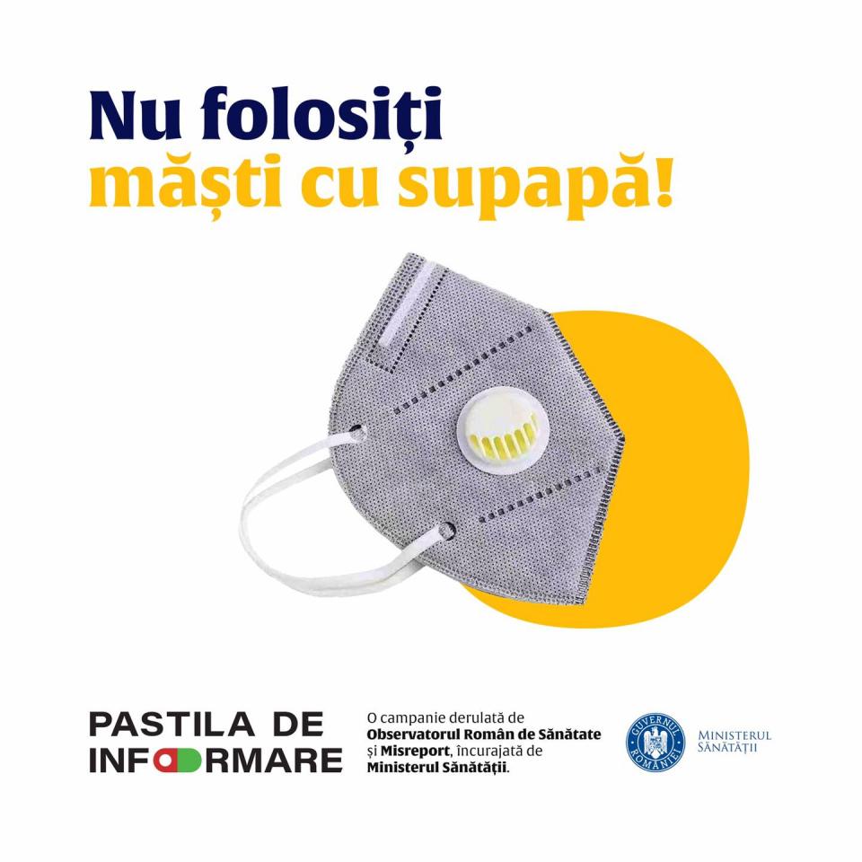 Imagine cu mască cu supapă   FOTO: Facebook Ministerul Sănătății