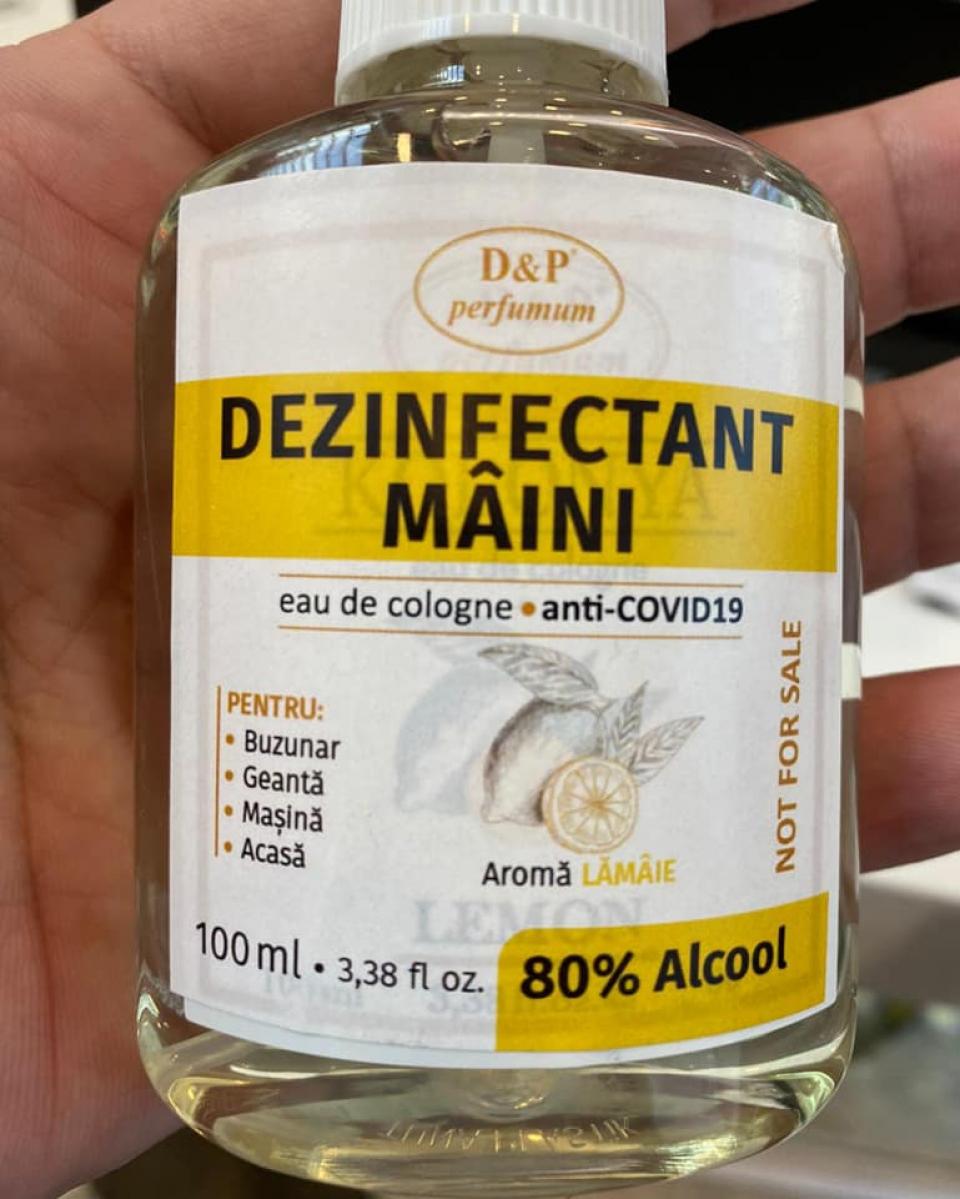Apă de colonie, vândută ca dezinfectant anti-COVID-19   Foto: Facebook/Sorin Claudiu Susanu