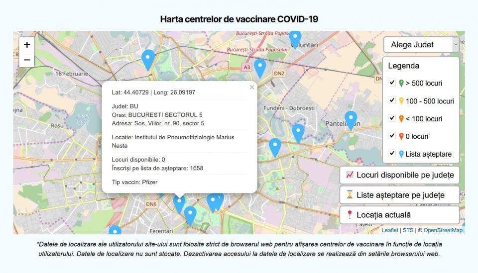 Harta interactivă a centrelor de vaccinare împotriva COVID