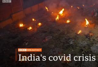 Crematoriu pe un teren viran de pe o stradă. Foto: Print screen BBC