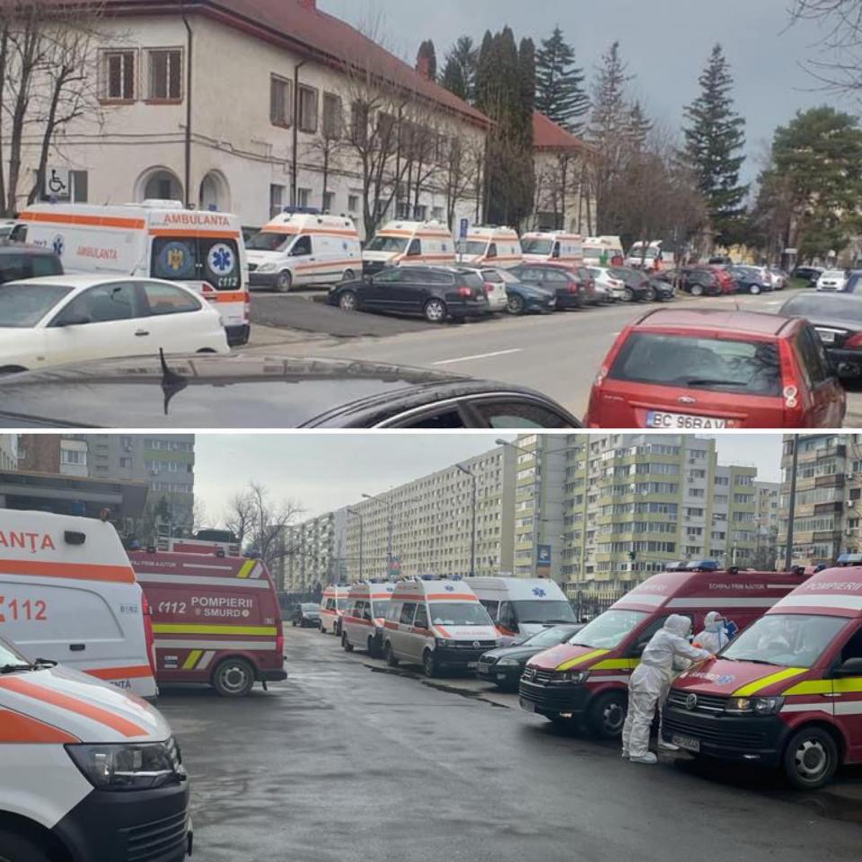 Ambulanțe în fața spitalelor care tratează pacienți COVID  FOTO: Facebook Vlad Voiculescu/via Mircea Radus, Cristi Dimitriu