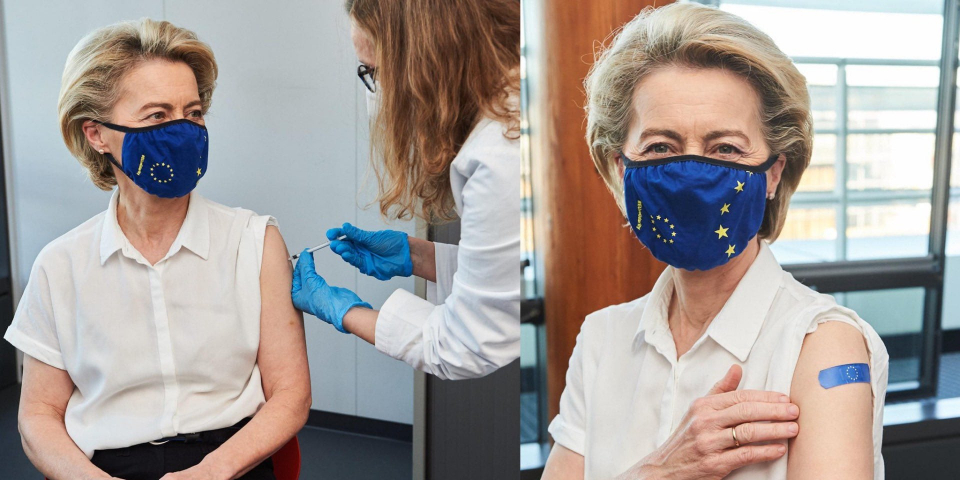 Președintele Comisiei Europene s-a vaccinat împotriva COVID  FOTO: Twitter via Facebook Ro Vaccinare