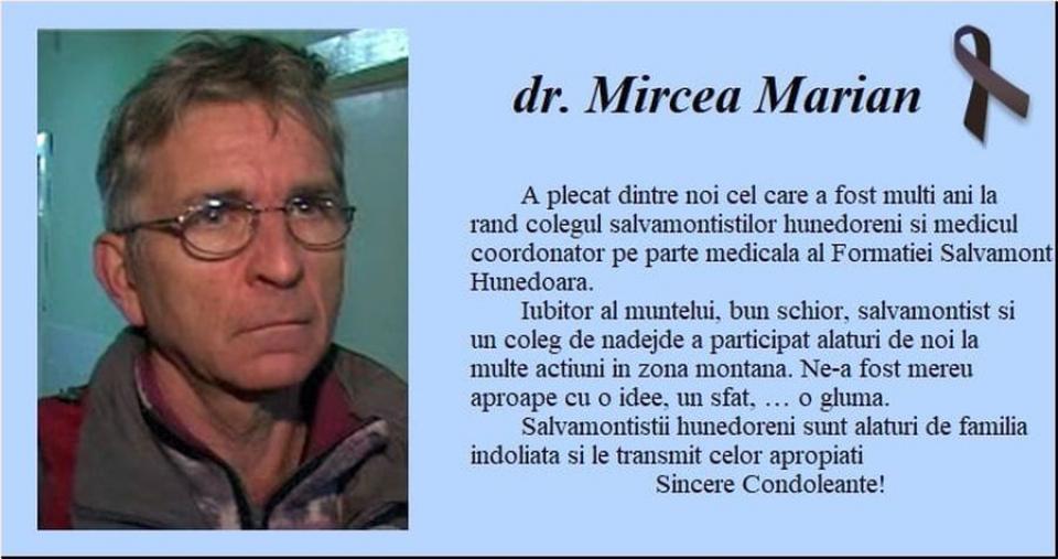 Dr Mircea Marian, de la Salvamont Hunedoara, a decedat. Foto: Facebook / Salvamont Hunedoara